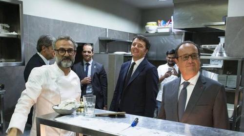 Renzi, Hollande e Bottura, in attesa della telefonata di Dissapore (photo by Il Resto del Carlino)
