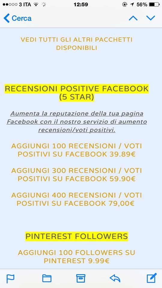 Il tariffario su Facebook