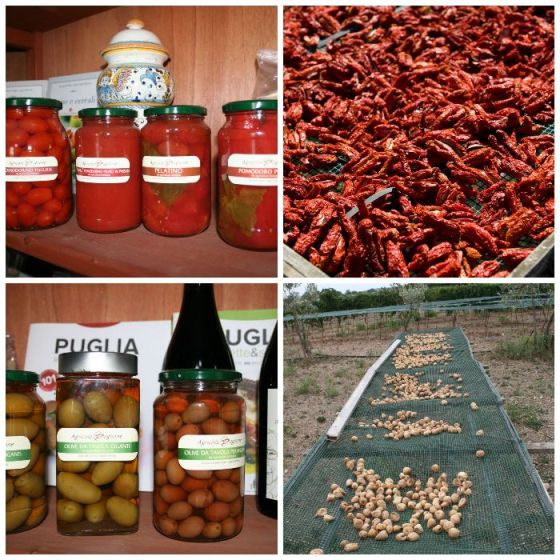 conserve di pomodori, pomodori secchi, fichi secchi e olive da tavola