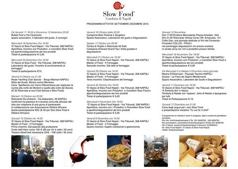 programma Slow Food Napoli settembre dicembre 2015