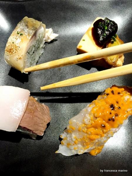 Assaggi di autore. Kobe e lardo di Patanegra, Nigiri di aragosta, sgombro marinato, arani di tonno bianco