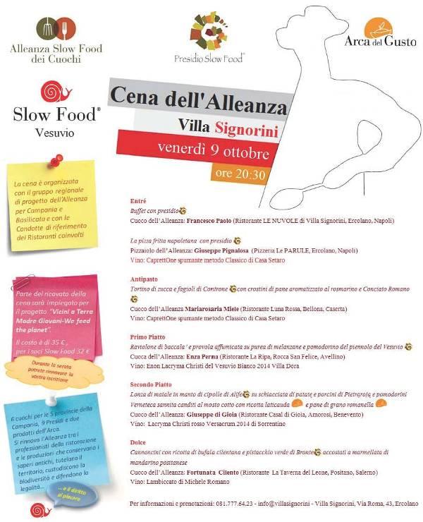 Cena dell'Alleanza a Villa Signorini con Slow Food Vesuvio