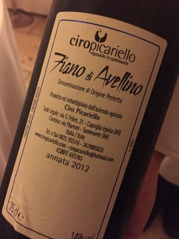 Fiano di Avellino 2012 Ciro Picariello