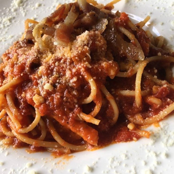 Gli spaghetti all'amatriciana di Eataly Roma