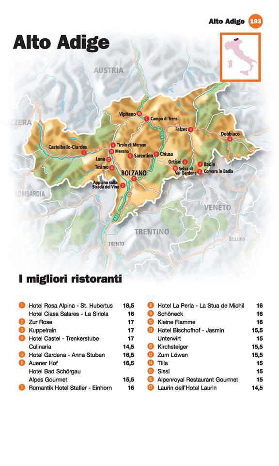 Guida I Ristoranti d'Italia de L'Espresso 2016, Alto Adige