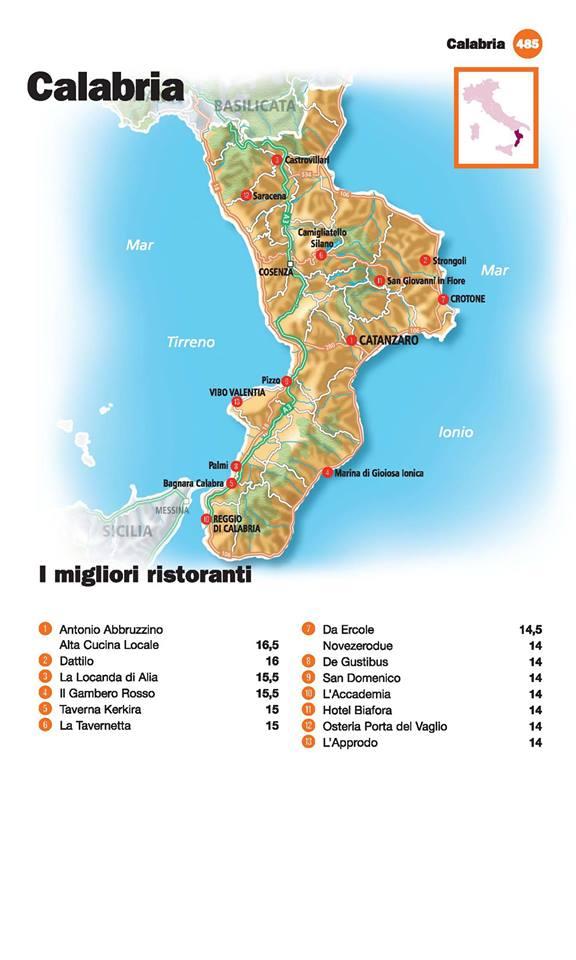Guida I Ristoranti d'Italia de L'Espresso 2016, Calabria