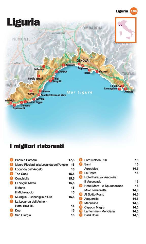 Guida I Ristoranti d'Italia de L'Espresso 2016, Liguria