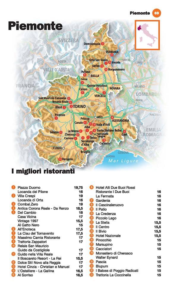Guida I Ristoranti d'Italia de L'Espresso 2016, Piemonte