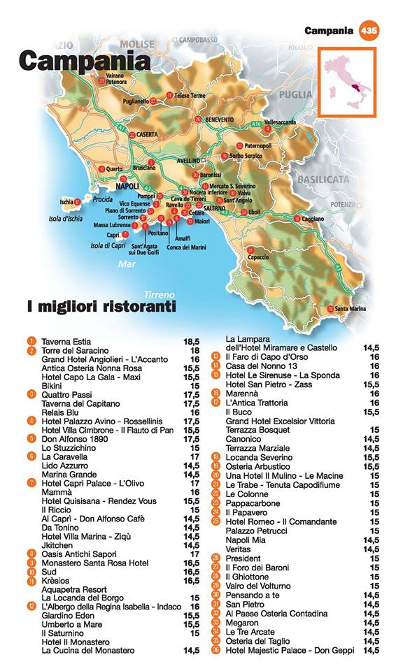 Guida I Ristoranti d'Italia de L'Espresso 2016, Campania
