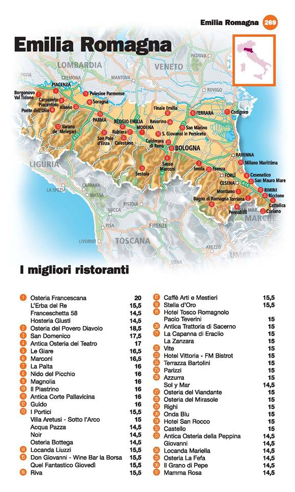Guida I Ristoranti d'Italia de L'Espresso 2016, Emilia Romagna