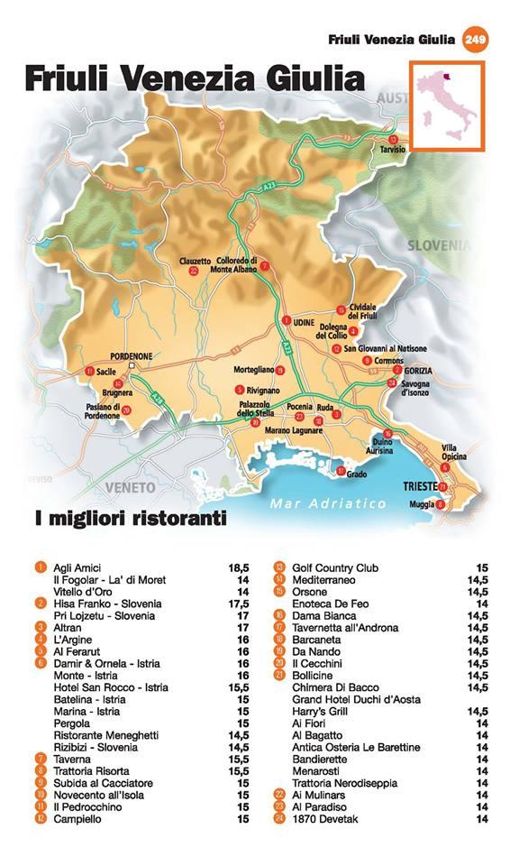 Guida I Ristoranti d'Italia de L'Espresso 2016, Friuli Venezia Giulia
