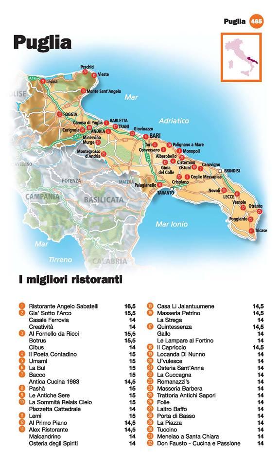 Guida I Ristoranti d'Italia de L'Espresso 2016, Puglia