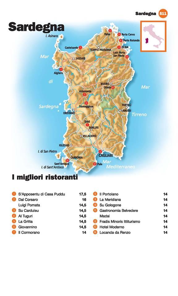Guida I Ristoranti d'Italia de L'Espresso 2016, Sardegna