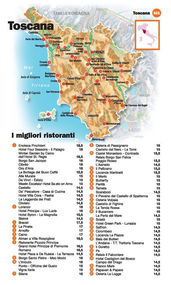 Guida I Ristoranti d'Italia de L'Espresso 2016, Toscana