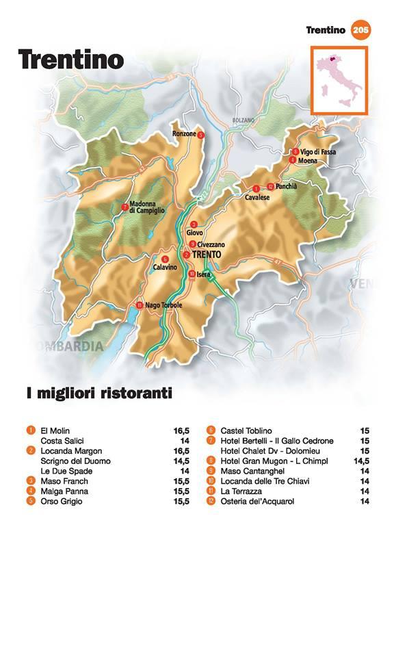 Guida I Ristoranti d'Italia de L'Espresso 2016, Trentino