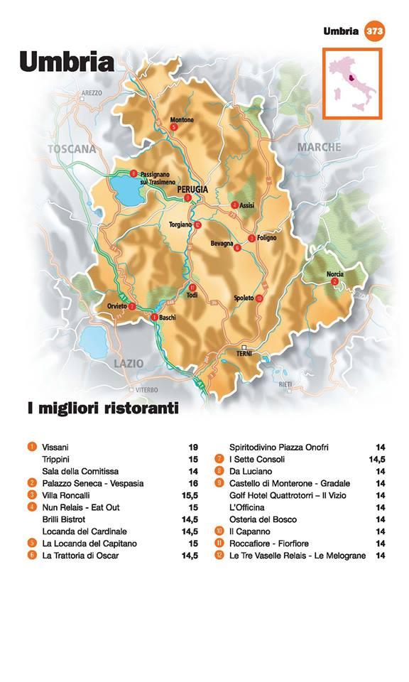 Guida I Ristoranti d'Italia de L'Espresso 2016, Umbria