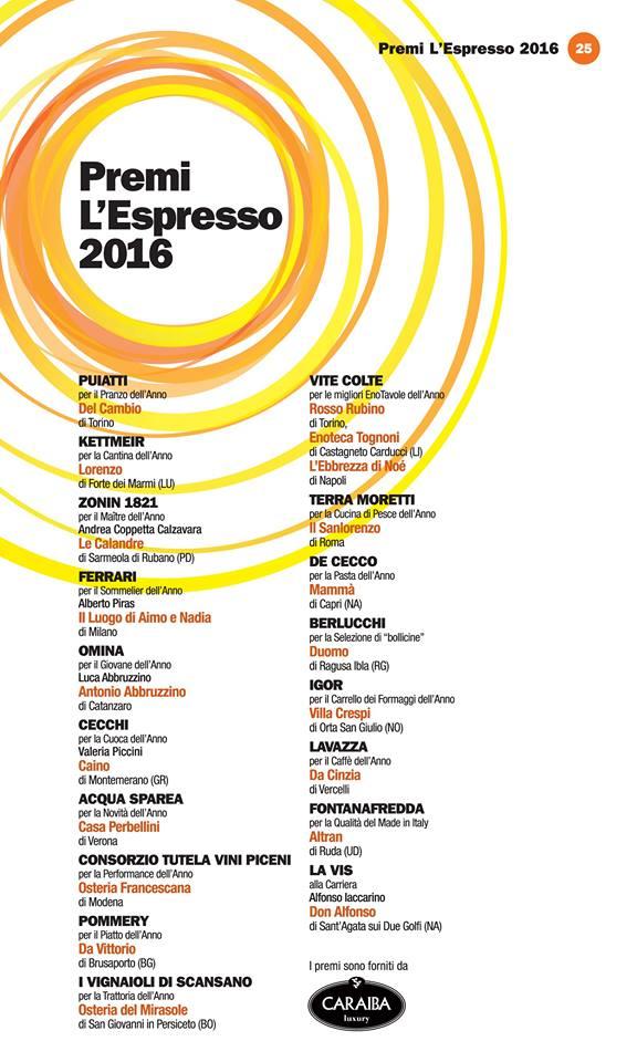 Guida I Ristoranti d'Italia de L'Espresso 2016, i Premi