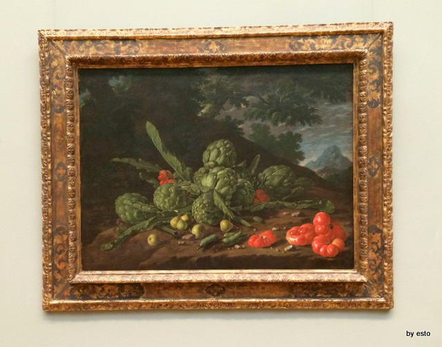 Luis Meléndez Naples 1716 - Madrid 1780, Still Life of artichokes and tomatoes in a landscape.