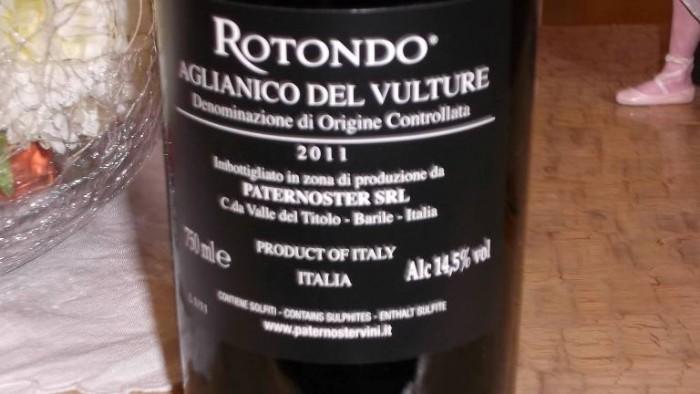 Paternoster Controetichetta Rotondo Aglianico del Vulture Doc 2011