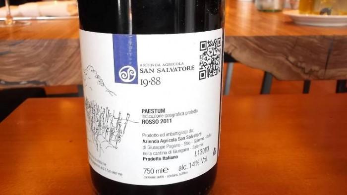 Controetichetta Pino di Stio Paestum Rosso Igp 2011 San Salvatore
