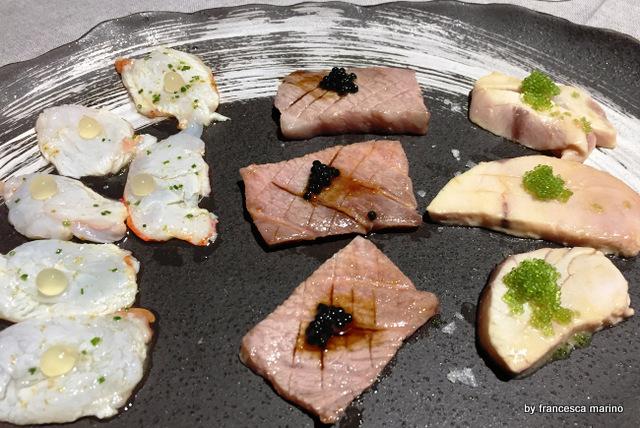 Tris di Tartare. Gamberi di Mazara del Vallo e pistacchi di Bronte, Salmone e Ikura, spigola e riccio