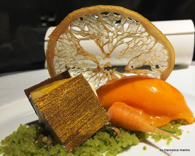 La madleine al dragoncello e gelato di carota