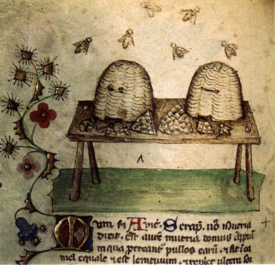 -Una miniatura con api e miele