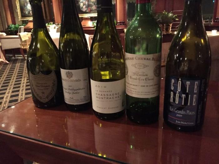 Heinz Beck, Dom Perignon 2006, Schonleber Monzinger Spatlese 2011, Vincent Dancer La Romanée 2010, Château Cheval Blanc 1980, Gerin Cote Rotie Les Grandes Places 2009