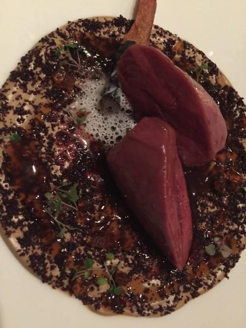Heinz Beck, petto di piccione, funghi, scorzanera, cacao e rum