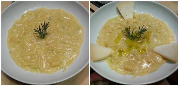 Il piatto prima e dopo preparato dai concorrenti (la versione è quella di Aldo Iannarella)