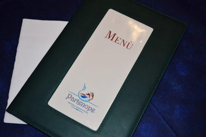 Osteria Partenope, il menu