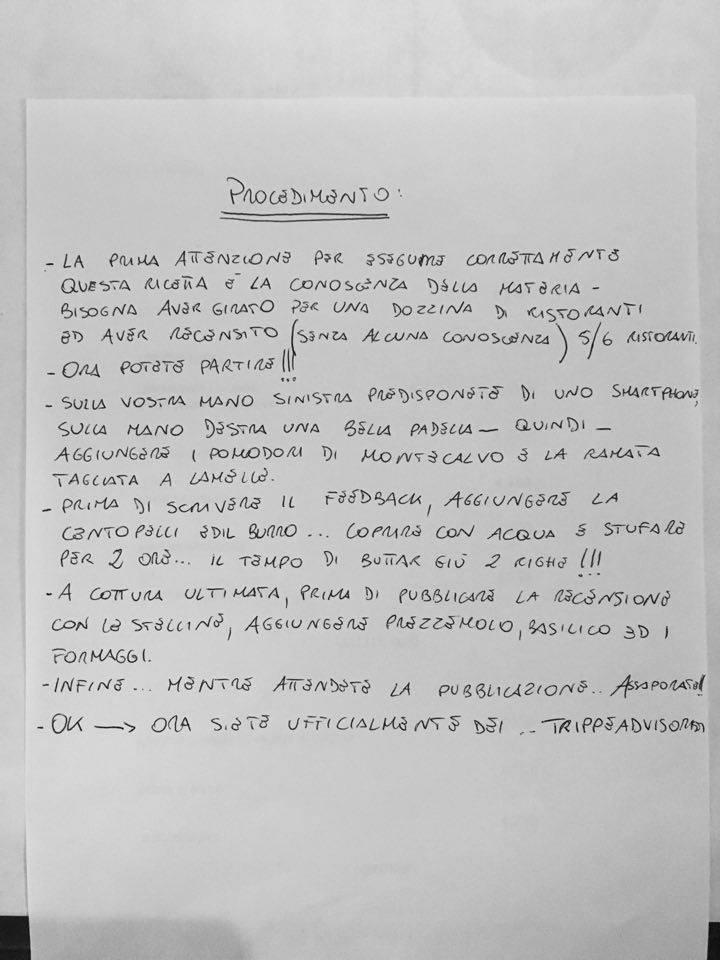 La ricetta scritta di proprio pugno da Mirko Balzano