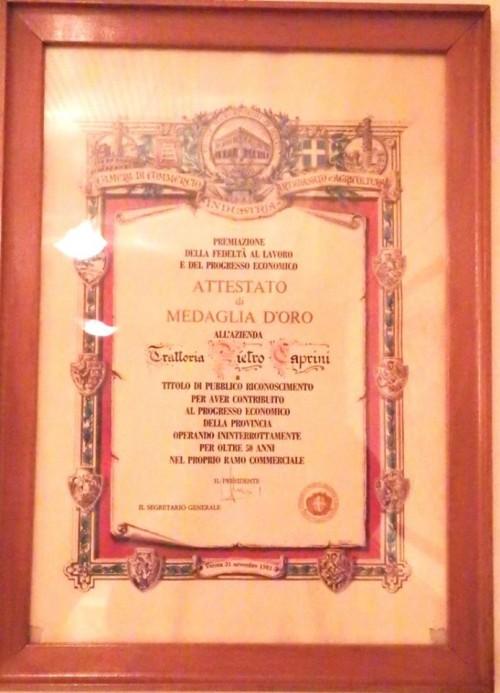 Trattoria Caprini, l'attestato di medaglia d'oro