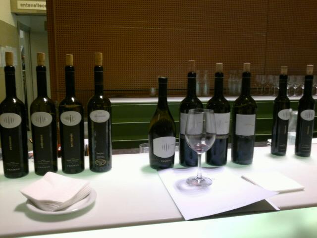 degustazione dei bianchi della cantina di Termeno, una parte dei vini assaggiati durante la serata