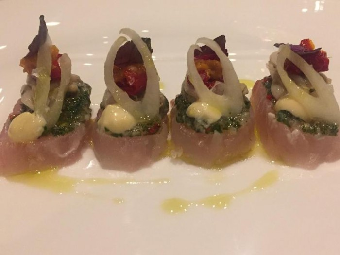 Armani, dentice con insalata tabulè, finocchio
