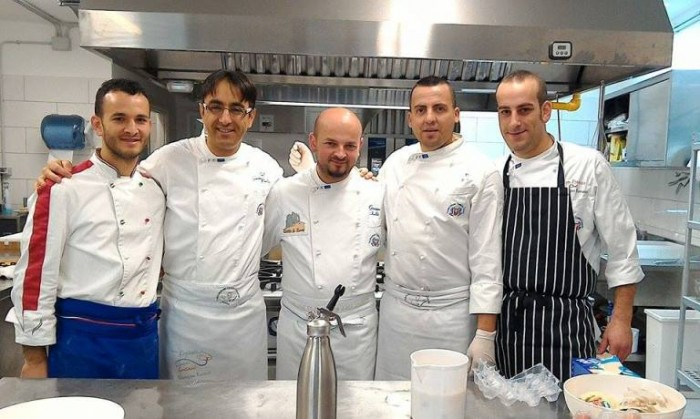 Chef in Tour, da sinistra Giovanni Caggiano, Giuseppe Paolucci, Giuseppe Isoldi, Vito Amato, Vincenzo Romano