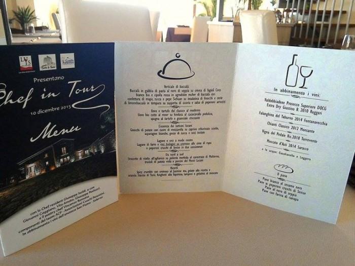 Chef in Tour, il menu