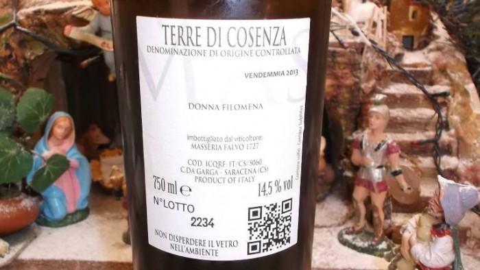 Controetichetta Donna Filomena Terre di Cosenza Doc  2013 Masseria Falvo