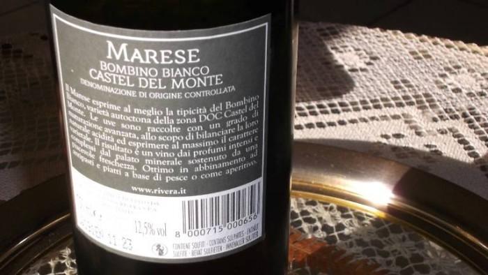 Controetichetta Marese Bombino Bianco Castel del Monte Doc 2014 Rivera