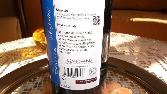 Controetichetta Simpotica Salento Rosso Negroamaro Igp 2011 Garofano