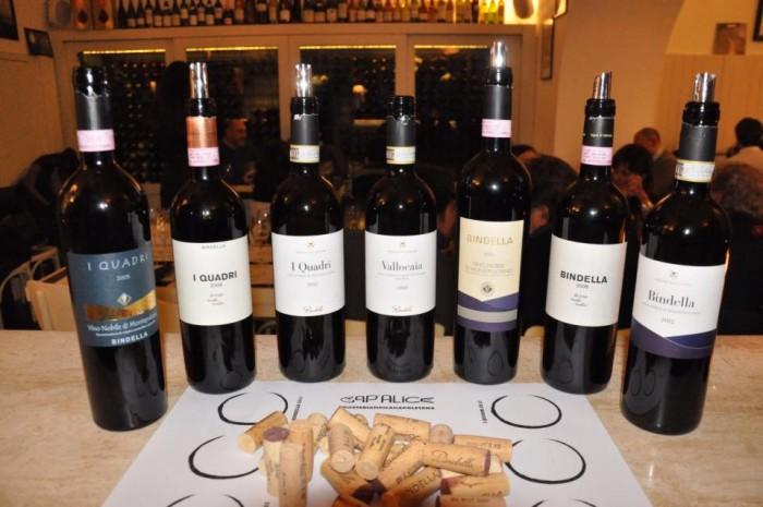 La degustazione dei vini Nobile di Montepulciano Bindella a Cap'alice, i campioni