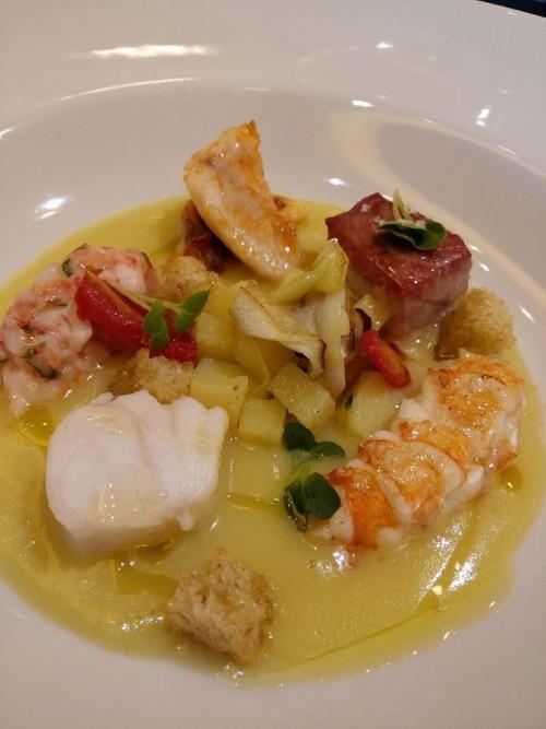 Tre Olivi, Crema di Patate con crostacei tonno e pesci bianchi