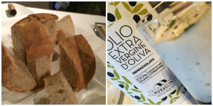 Umami, pane appena sfornato e pane con Olio Extravergine di Muraglia nel bicchiere