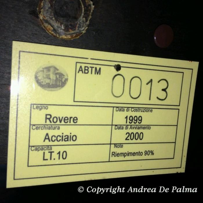 Acetaia Villa Donnino, le botti censite con data di produzione
