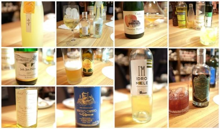 Bottura, i vini:  sake alla yuzu, Vermouth bianco e tonica, sidro, cocktail, Joh. Jos. Prüm Graacher Himmelreich Kabinett 2009, la borra, il whisky, il Barolo chinato, l'Idro Miele e il Vermouth Rosso
