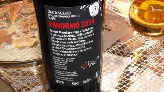 Controetichetta Panormo Colli di Salerno Rosso Igp 2014 Tenuta Macellaro