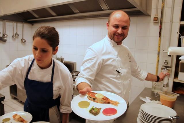 La Garçonne Restaurant & Music.  Eduardo Estatico Triglia di scoglio, carciofo ed Aperol