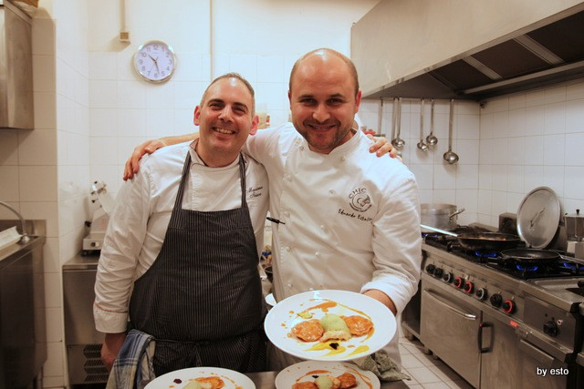 La Garçonne Restaurant & Music. Eduardo Estatico e Massimo Ibisco Ravioli, scampi, arancia ed alloro