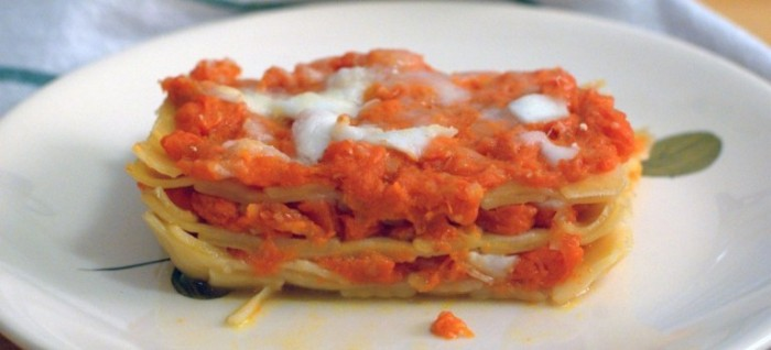 Lasagne di Fettucce con Cocozza e Mozzarella di Bufala Campana DOP