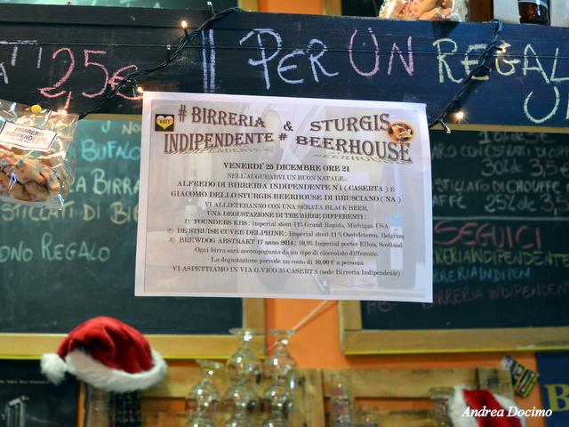 Sturgis e Birreria Indipendente n°1. La locandina dell'evento della sera del 25 dicembre 2015.